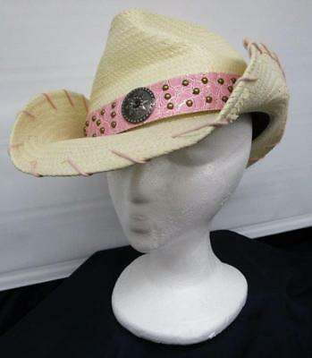 0f92c1322ae86 Peter Grimm Natural Cream Straw Cowgirl Hat w Studded Pink Pleather Band 1  Size