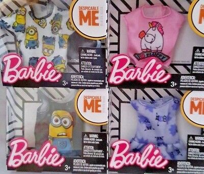 Barbie Doll Despicable Me Fashion Pack Collection LOT OF 4 NIB Minions Tops