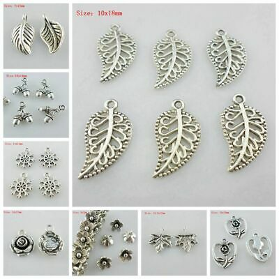 120pc Tibetan Alloy Leaf Pendants Metal Dangle Charms For Earring Jewelry 14x7mm