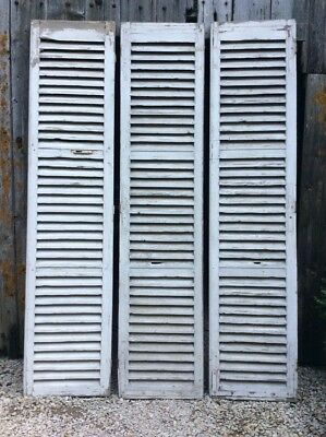 3 Antique French White Painted Louvered Shutters Great Vintage Condition