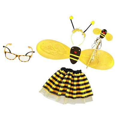 48599924c8d 5 set Bumble Bee Girl Kids Fairy Halloween Fancy Dress Glasses Party Costume