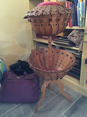 rare antique 2 basket sewing box/stand,wafers & buttons of wood,pin cushion lid