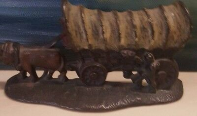 Vintage Cast Iron Door Stopper Covered Wagon Chanpion Hardware 1931