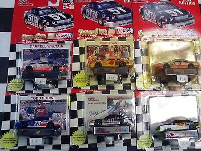LOT OF 6- 1/64 NASCAR Racing Cars & Cards Waltrip Bodine Irvan Hamilton Kulwicki