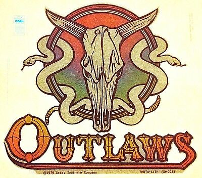 Original Vintage Outlaws Snake Skull Iron On Southern Rock Last One