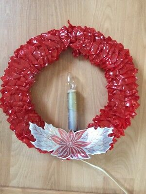 Vintage 1950s Electric Candle Red Cellophane Christmas Wreath