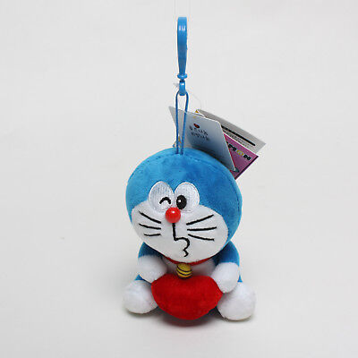 12Cm Doraemon Holding Heart Plush Toys Soft Doll Key Chain Pendant Bag Strap