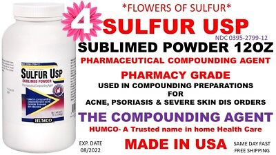4 HUMCO SULFUR Sublimed Powder USP 12 oz *Flowers of Sulfur* Exp  Date  08/2022