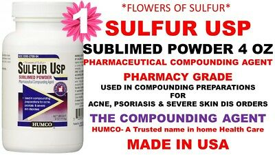 HUMCO SULFUR POWDER Sublimed 4 oz for Acne, Psoriasis