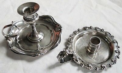 Tiny Small Sterling Silver Chamberstick Candlestick Lot of 2 Old Vtg Antique
