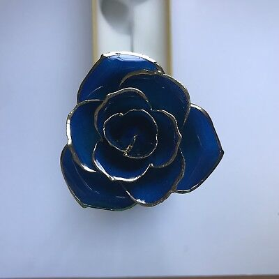 Real Rose Dipped in 24k Gold, Blue Long Stem Rose with Golden Leaf PERFECT GIFT!