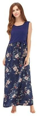 Elegant Maternity Nursing Breastfeeding Long dress Floral Print,UK8-16