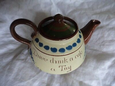 vintage Longpark Pottery Torquay motto ware teapot 96N3 black cockerel heavy