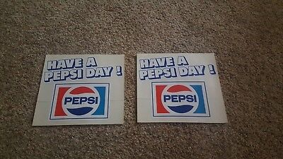 Lot Of 2  1970s HAVE A PEPSI DAY Window Store Decal Peel Back DECALS