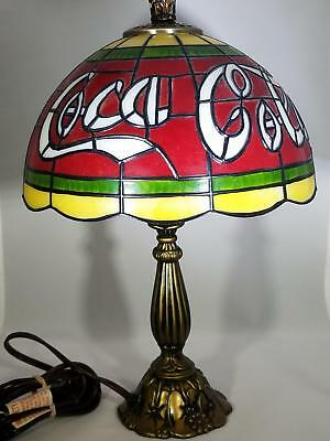Coca-Cola Lamp - Plastic And Resin Base - Small Crack In The Lamp Shade