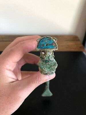 Pre Columbian Chavin/Moche Metal Tool/Sharpener/Chisel With Decorative Figure!