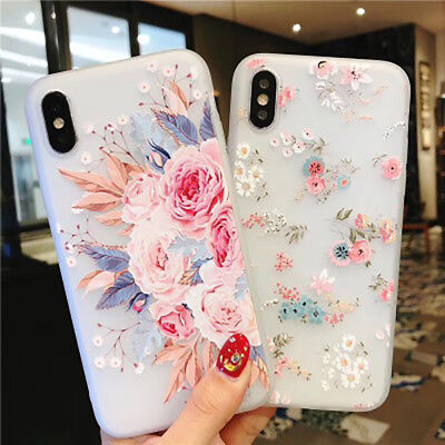 For Samsung Galaxy S7 Edge S8 S9 Plus Note 8 3D Rose Flower Pattern Cover Case