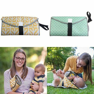 3-in-1 Clean Hands Changing Pad Portable Baby  Cover Mat Folding Diaper Bag X@