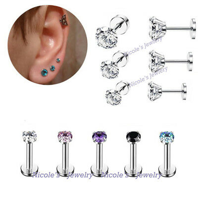 3Pcs 16g Surgical Steel CZ Prong Set Helix Tragus Earing Studs Labret Piercing