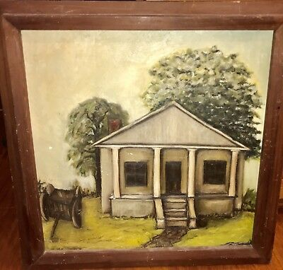 Original Antique Homestead House Folk Art Primitive Painting Buffet Style Home