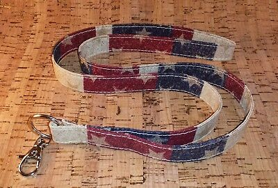 *Stars and Stripes Lanyard for Keys Rustic Country Americana Decor Patriotic USA