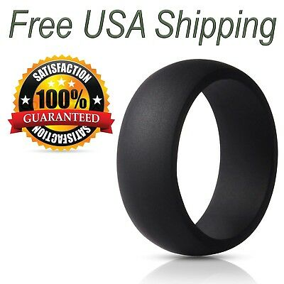 Silicone Wedding Ring for Men by LiveLife Black Rubber Band (Single Pack)