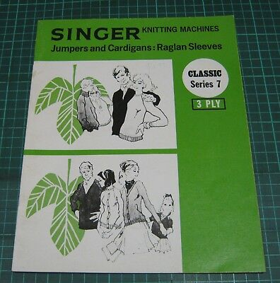 Singer Knitting Machine Pattern Jumpers Cardigans Raglan Sleeves 3 ply sweater