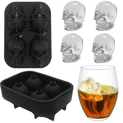 Skull Shape 3D Ice Cube Mold Maker Party Bar Silicone Trays Chocolate Mould Gift