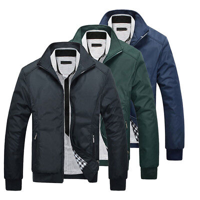 Mens Jacket Summer Lightweight Bomber Coat Casual Outfit Tops Outerwear Clothing