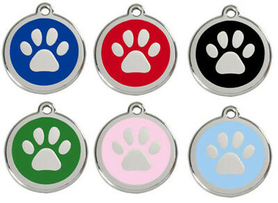 Engraved Dog ID identity Tags / discs Paw Print by Red Dingo in 3 sizes (1PP)