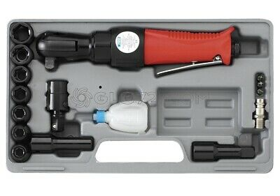"Air Powered Ratchet Wrench Set Pneumatic Tool With Sockets 1/2"" 65 Nm Fervi 0046"