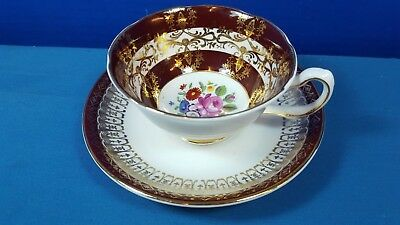Royal Grafton Fine Bone China Tea Cup and Saucer Maroon with  Flowers