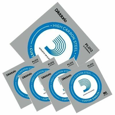 5 D'Addario PL012 Single Plain Steel Electric / Acoustic Guitar Strings Gauge 12