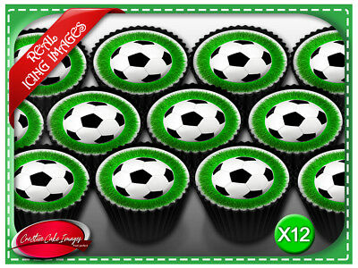 12 Soccer Balls Edible Icing Image Cupcake Cake Topper Birthday Party Decoration