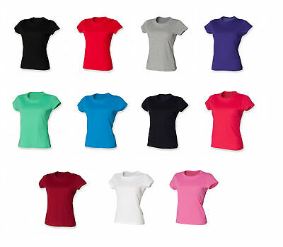 Ladies Perfect Fit T-Shirt Womens  Cotton Short Sleeve Crew Neck Top SK201