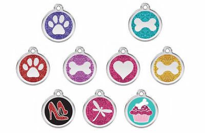 Red Dingo GLITTER Engraved Dog / Cat ID Tags / Discs. Paw / Heart / Bone / Cake