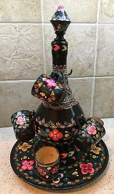 Vintage Hand Painted Russian Wooden Decanter with Tray & Cups - Bottle Shape #2