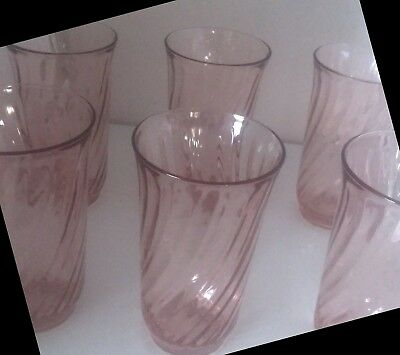 6 Arcoroc Pink Rosaline France Swirl Tall Beverage Glasses