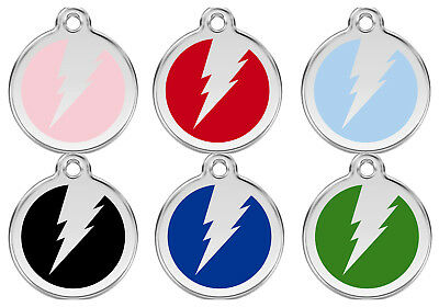 Red Dingo Lightning Bolt / Flash Engraved Dog Cat Identity ID Tags / Discs (1ZF)