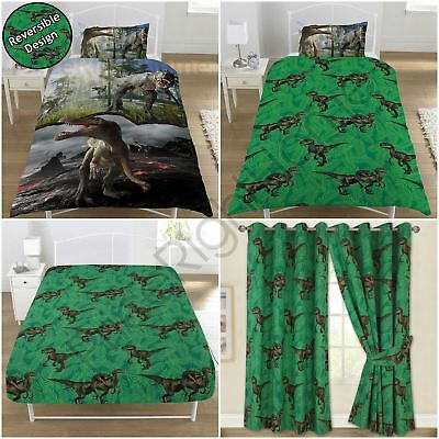 Jurassic Predators Dinosaur - Single Duvet Cover Set, Fitted Sheet, Curtains 72""