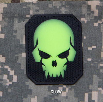 Mil-Spec Monkey Large PIRATE SKULL PVC GLOW Military Army Morale Patch