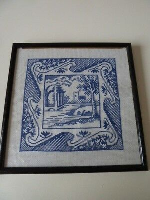 Blue&White Completed Tapestry Cross Stitch~Framed~27x 27cm Outer[19x19 Inner]~