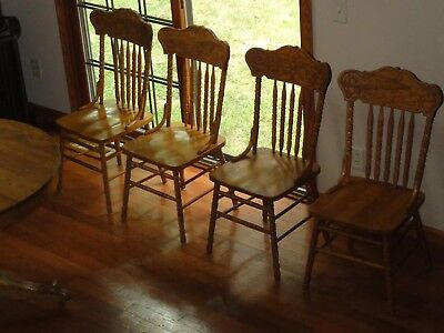 Old Antique Solid Oak Furniture Chairs Nice Excellent Condition set of 4 - OLD ANTIQUE SOLID Oak Furniture Chairs Nice Excellent Condition Set
