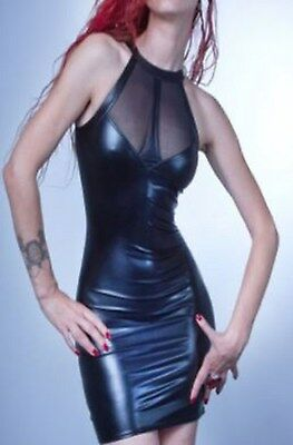 Latex Look Sexy Black Dress See Through Mesh Front/Back Panel Cut Away Shoulders