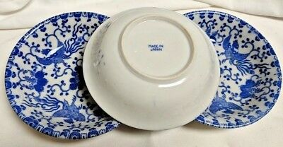 VINTAGE JAPANESE RICE BOWL--BLUE, WHITE DESIGN WITH PHOENIX DESIGN (lot of 3)