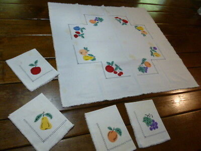 Vintage Woven Cotton Hand Embroidered Tablecloth & Napkins Applique Fruit