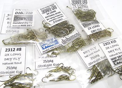 275) big dry fly hooks #10 #8 #6 Assortment (94840 2302 2312 5212 100) fly tying