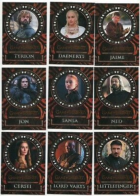 2017 Game of Thrones Valyrian Steel Special Edition Laser Cut 18 Card Set