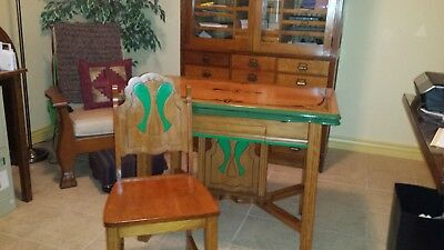 vintage dining table set-Art deco metal top-1930's-4 Chairs and base solid Maple