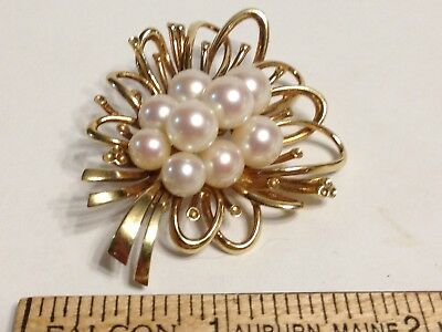 14K 585 Solid Yellow Gold White Peach Pearl 2 Inch Brooch 17 Grams 9 Pearls Vtg!